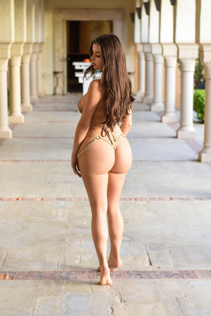 British model Demi Rose, 24, showed off her curves in a photo shoot in Tunisia on Saturday, May 4, 2019. The Birmingham-born beauty slipped into a nude two-piece dripping in jewels and went barefoot the photo shoot in a temple. (Photo by KP Pictures)