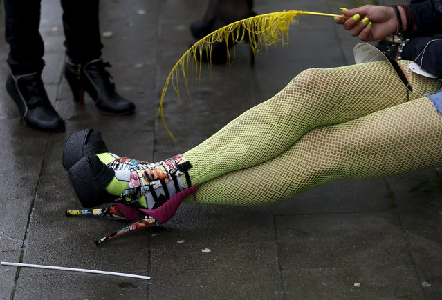 A participant rests during the Belgian lesbian, gay, bisexual and transgender (LGBT) Pride Parade in Brussels, Belgium, May 16, 2015. (Photo by Francois Lenoir/Reuters)