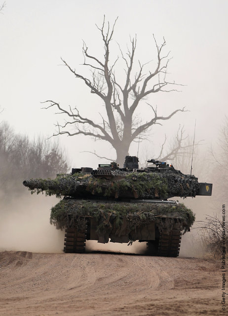 A Leopard 2 heavy tank of the 37th Armoured Infantry Brigade (37. Panzergrenadierbrigade) participates in a military exercise