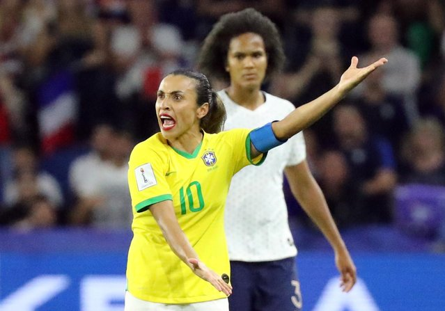 Marta of Brazil reacts during the 2019 FIFA Women's World Cup France Round Of 16 match between France and Brazil at Stade Oceane on June 23, 2019 in Le Havre, France. (Photo by Lucy Nicholson/Reuters)