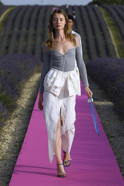 A model walks the runway at the Jacquemus Menswear  Spring/Summer 2020 show on June 24, 2019 in Valensole, France. (Photo by Estrop/Getty Images)