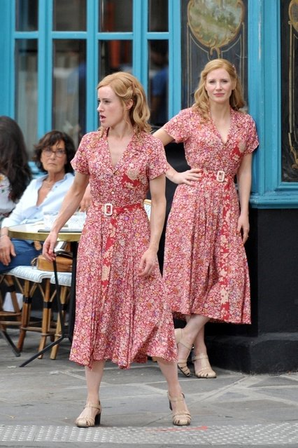 """Jessica Chastain was spotted with her stunt double on the set of her new spy film """"355"""" in Paris, France on July 12, 2019. Jessica spent the day shooting scenes with  co-star Diane Kruger as well as Edgar Ramirez. Chastain was seen at one point taking direction with her double for a scene in which she exits the restaurant. (Photo by Backgrid USA)"""