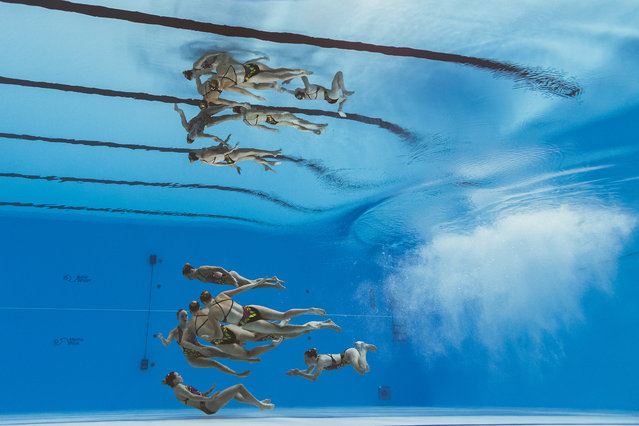 Canada's team compete in the team technical artistic swimming event during the 2019 World Championships at Yeomju Gymnasium in Gwangju on July 14, 2019. (Photo by Francois-Xavier Marit/AFP Photo)