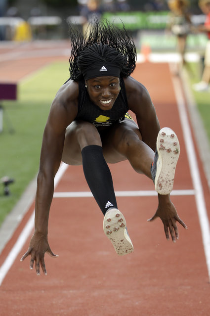 Christina Epps leaps on her way to winning the triple jump at the U.S. track and field championships in Eugene, Ore., Friday, June 26, 2015. (Photo by Don Ryan/AP Photo)