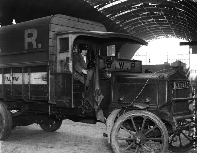 1926: A volunteer transport driver in her lorry during the General Strike