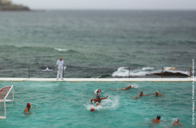 A general view is seen during the Water Polo by the Sea match between Australia and the United States of America at Bondi Icebergs pool, Bondi Beach