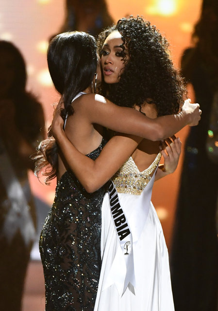 Miss New Jersey USA 2016 Chhavi Verg (L) and Miss District of Columbia USA 2016 Kara McCullough hug after McCullough was named the new Miss USA during the 2017 Miss USA pageant at the Mandalay Bay Events Center on May 14, 2017 in Las Vegas, Nevada. (Photo by Ethan Miller/Getty Images)
