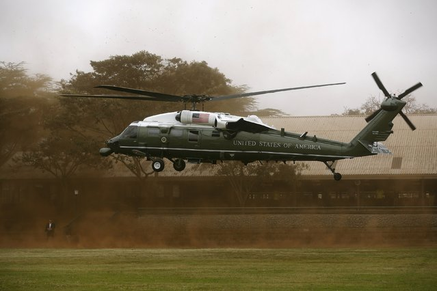 The Marine One helicopter lands with U.S. President Barack Obama aboard as he arrives to deliver remarks at the Global Entrepreneurship Summit at the United Nations compound in Nairobi July 25, 2015. (Photo by Jonathan Ernst/Reuters)