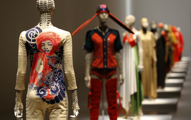 Pieces of designer Issey Miyake's collection are displayed at the National Art Center in Tokyo, Japan, Tuesday, May 31, 2016. Although he's behind one of the biggest fashion brands to come out of Japan, Issey Miyake detests being called a fashion designer. Maybe a designer, even a sculptor, but not of that frivolous, trend-watching, conspicuous consumption known as fashion. What he has pursued since he started in the 1970s is more timeless. His down-to-earth clothing is meant to celebrate the human body. And it's anyone's or everyone's body – any race, build, size or age. (Photo by Shizuo Kambayashi/AP Photo)