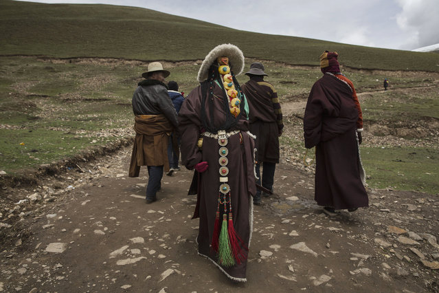 Tibetan nomads take a break from harvesting cordycep fungus on the 15th day of Saka Dawa, the holiest day of the Buddhist calendar on May 21, 2016 at the Sershul Monastery on the Tibetan Plateau in the Garze Tibetan Autonomous Prefecture of Sichuan province. (Photo by Kevin Frayer/Getty Images)