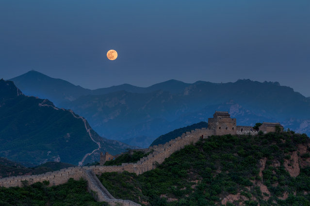 """Full moon and the Great Wall"". Picture taken in May 2014 on a NGE Photo Expedition. It was a fantastic day: clear sky, no tourists and a full moon!! We were totally blessed. Photo location: Beijing. (Photo and caption by Jose Balta/National Geographic Photo Contest)"
