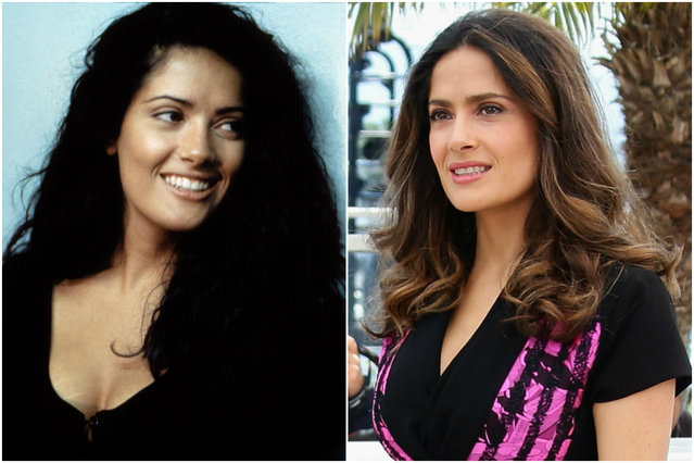 Salma Hayek in 1995 and today. (Photo by Everett Collection/Getty Images)