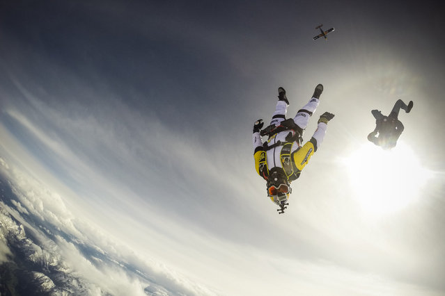 Vincent Reffet and Noah Banson seen training for a jump over Austria on May 12, 2014. Fearless skydivers jump from an altitude of 10,000 meters above the largest mountain in Europe. Frederic Fugen, 34, and Vincent Reffet, 29, leapt from a plane in the freezing skies above Mont-Blanc in the French Alps. (Photo by Dominique Daher/Barcroft Media)