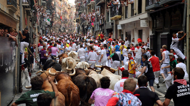Runners sprint alongside Pedraza de Yeltes fighting bulls at Estafeta street during the fourth running of the bulls at the San Fermin festival in Pamplona, northern Spain, July 10, 2016. (Photo by Vincent West/Reuters)