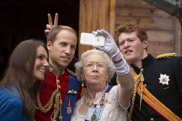 """The Duke and Duchess of Cambridge"", ""The Queen"" and ""Prince Harry"" outside the Summerhall arts venue in Edinburgh, Scotland, where their creator Alison Jackson is holding a live performance of her work called La Trashiata. (Photo by James Glossop/The Times/SIPA Press/News Syndication)"