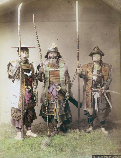 Three samurai warriors in armour, circa 1880. (Photo by Kusakabe Kimbei)