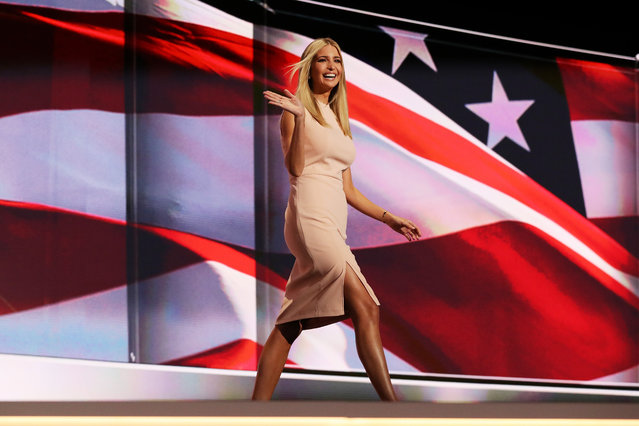 Ivanka Trump waves to the crowd as she walks on stage to deliver a speech during the evening session on the fourth day of the Republican National Convention on July 21, 2016 at the Quicken Loans Arena in Cleveland, Ohio. Republican presidential candidate Donald Trump received the number of votes needed to secure the party's nomination. An estimated 50,000 people are expected in Cleveland, including hundreds of protesters and members of the media. The four-day Republican National Convention kicked off on July 18. (Photo by Joe Raedle/Getty Images)