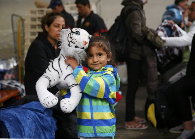 A young girls holds a teddy bear she received at the registration point for migrant arrivals at the main station in Munich, Germany September 5, 2015. (Photo by Michael Dalder/Reuters)