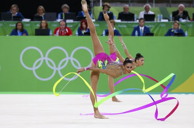 2016 Rio Olympics, Rhythmic Gymnastics, Final, Group All-Around Final, Rotation 1, Rio Olympic Arena, Rio de Janeiro, Brazil on August 21, 2016. Team Spain (ESP) compete using ribbons. (Photo by David Gray/Reuters)
