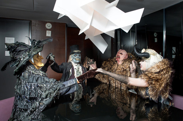 Monsters from Netherworld Haunted House (from left) Hagatha the Witch, The Collector, Crampus and the Crampus Queen in a suite at W Atlanta Downtown hotel on Thursday, October 7, 2014. (Photo by Hyosub Shin/AJC)