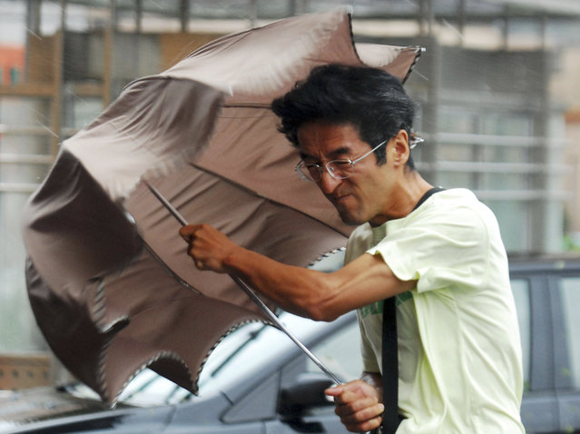 A man holds onto his umbrella against strong wind and heavy rainfalls on a street as Typhoon Haikui hit Shanghai, August 8, 2012. (Photo by Reuters/China Daily)