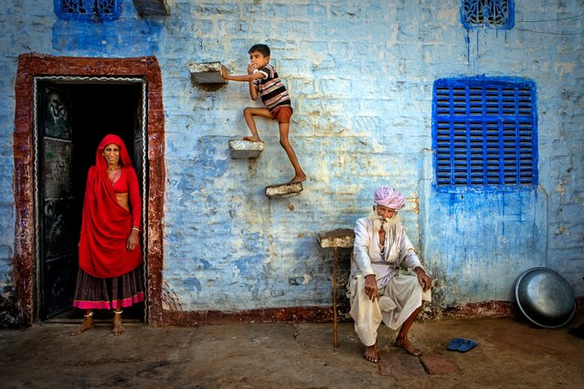 """""""Jodhpur family, Rajasthan"""". A studied composition of the Bhenwa family in the city of Jodhpur. Honourable mention: Travel. (Photo by Isa Ebrahim/SIPA Contest)"""