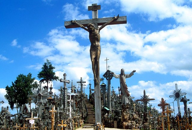 A crucifix at Hill of Crosses, where many believe miracles can happen. (Photo by Richard Gardner/Rex USA)