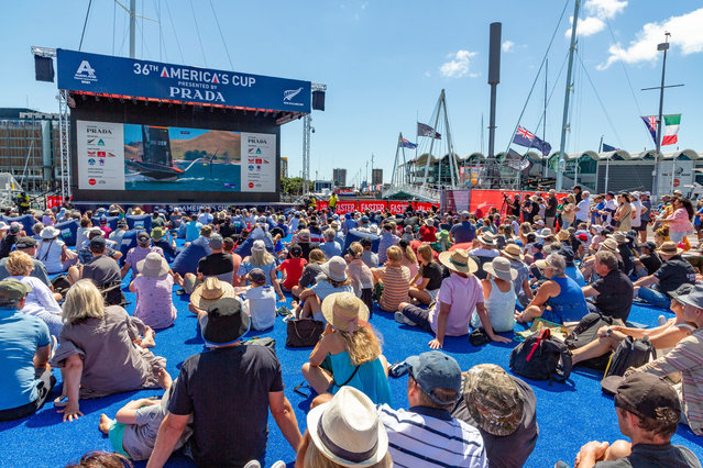Spectators watch during the first day's competition at the America's Cup challenger series in Auckland, New Zealand, on January 15, 2021. (Photo by Xinhua News Agency/Rex Features/Shutterstock)