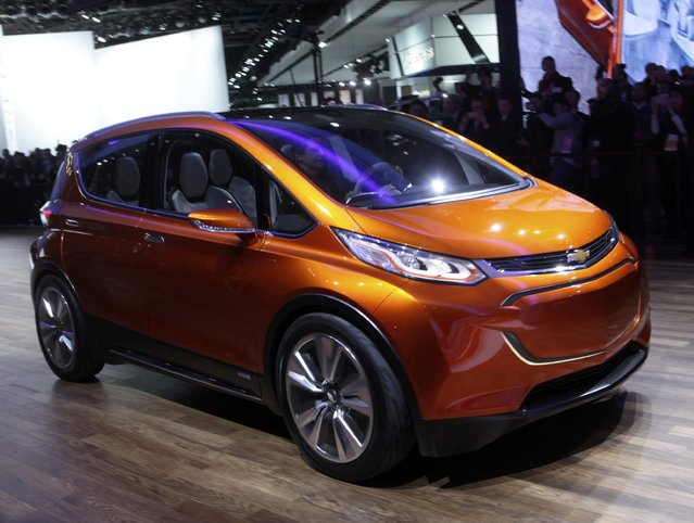 The Chevrolet Bolt EV electric concept car is unveiled during the first press preview day of the North American International Auto Show in Detroit, Michigan January 12, 2015. (Photo by Rebecca Cook/Reuters)