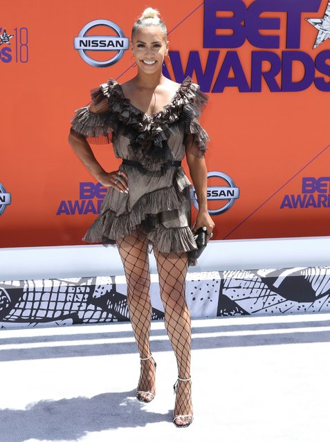 Sibley Scoles arrives at the BET Awards at the Microsoft Theater on Sunday, June 24, 2018, in Los Angeles. (Photo by Willy Sanjuan/Invision/AP Photo)