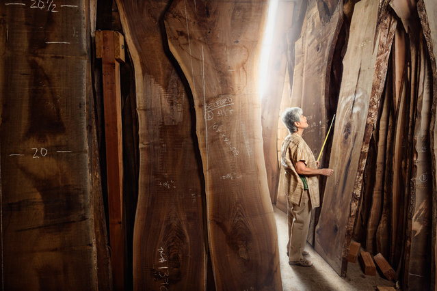 Mira Nakashima, a designer and woodworker at George Nakashima Woodworking in New Hope, Pennsylvania. (Photo by Chris Crisman/The Guardian)