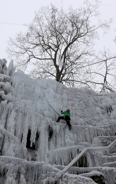 A man climbs an artificial wall of ice in the city of Liberec, Czech Republic, January 23, 2016. (Photo by David W. Cerny/Reuters)