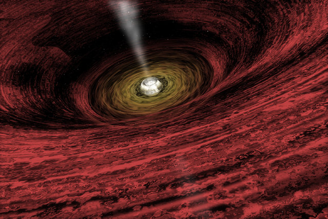 An artist's impression of a growing supermassive black hole located in the early Universe is seen in this NASA handout illustration released on June 15, 2011. Using the deepest X-ray image ever taken, astronomers found the first direct evidence that massive black holes were common in the early universe. This discovery from NASA's Chandra X-Ray Observatory shows that very young black holes grew more aggressively than previously thought, in tandem with the growth of their host galaxies. (Photo by Reuters/NASA/Chandra X-Ray Observatory/A.Hobart)