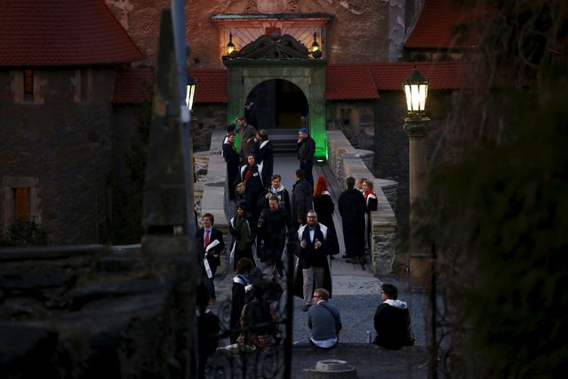 Participants gather in front of the castle before the role play event at Czocha Castle in Sucha, west southern Poland April 9, 2015. (Photo by Kacper Pempel/Reuters)