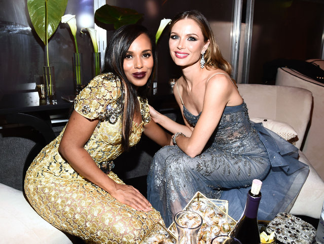 Kerry Washington and Georgina Chapman attend The Weinstein Company and Netflix Golden Globe Party, presented with FIJI Water, Grey Goose Vodka, Lindt Chocolate, and Moroccanoil at The Beverly Hilton Hotel on January 8, 2017 in Beverly Hills, California. (Photo by Buckner/Variety/Rex Features/Shutterstock)