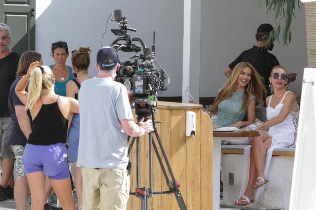 """Shooting film """"Selling Sunset"""": the actors Chrishell Stause and Mary Fitzgerald was spotted at Chora City to Mykonos Island, Greece on August 2, 2021. (Photo by Lone Wolf/The Mega Agency)"""