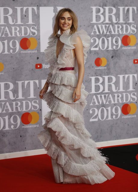 Suki Waterhouse arrives for the Brit Awards at the O2 Arena in London, Britain, February 20, 2019. (Photo by Peter Nicholls/Reuters)