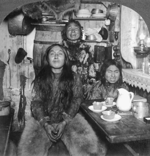 Eskimo Family in Home, Portait, Fort Magnesia, Cape Sabine, Ellsmere Island, Canada, circa 1900. (Photo by: Universal History Archive/UIG via Getty Images)