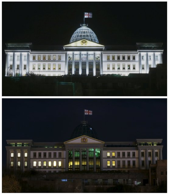 A combination photograph shows Georgia's Presidential Palace before (top) and during (bottom) Earth Hour in Tbilisi, Georgia, March 19, 2016. (Photo by David Mdzinarishvili/Reuters)