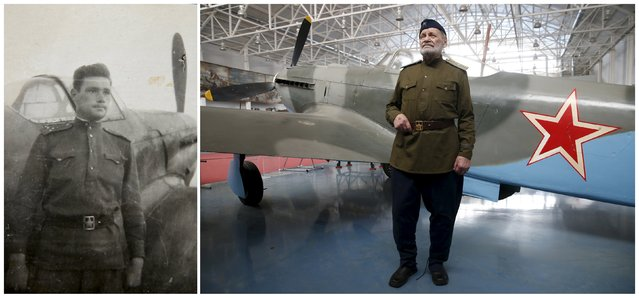 A combination photo shows World War Two veteran and retired Lieutenant General Vitaly Rybalka, 92, in an undated handout photo (L) and posing for a picture in front of a Yak-9 fighter Soviet aircraft at the Central Air Force Museum in Moscow region, Russia on April 26, 2015. Rybalka, a Soviet military pilot and then air squadron commander, served at the Western, 1st and 2nd Ukrainian fronts. (Photo by Maxim Zmeyev (R)//Family Handout via Reuters (L))