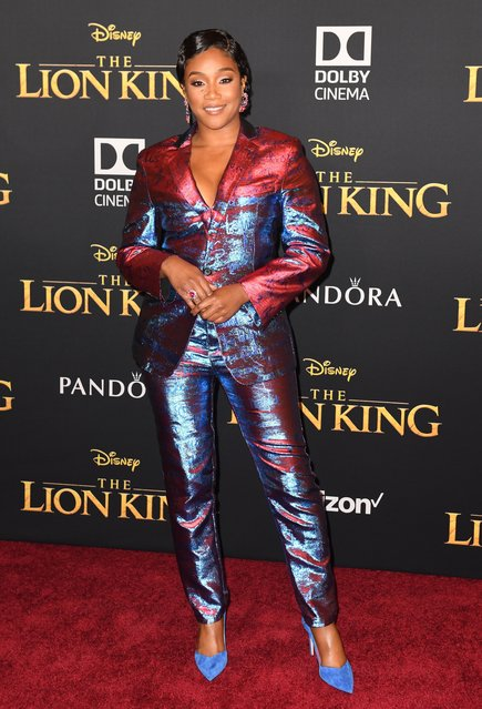 """US actress Tiffany Haddish arrives for the world premiere of Disney's """"The Lion King"""" at the Dolby theatre on July 9, 2019 in Hollywood. (Photo by Robyn Beck/AFP Photo)"""