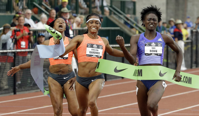 Tori Bowie, right, wins the 100-meter against English Gardner, center, and Carmelita Jeter at the U.S. Track and Field Championships in Eugene, Ore., Friday, June 26, 2015. (Photo by Don Ryan/AP Photo)