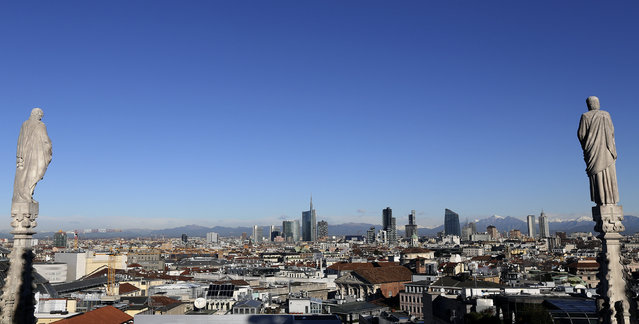 Milan's business district skyline is seen from Duomo's Cathedral downtown Milan, Italy , January 13, 2016. (Photo by Stefano Rellandini/Reuters)