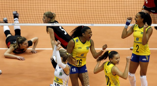 Brazilian players reacts during their FIVB Women's Volleyball World Grand Prix 2015 match against Belgium in Sao Paulo, Brazil, July 10, 2015. (Photo by Paulo Whitaker/Reuters)