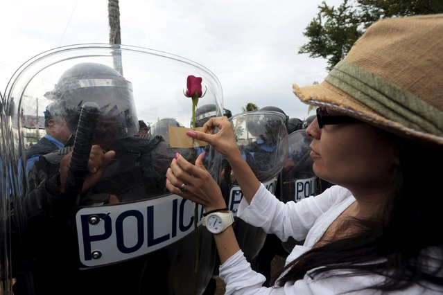 An opposition supporter places a flower on the shield of a riot police officer during a protest in front of the Supreme Electoral Council (CSE) building in Managua, Nicaragua July 22, 2015. The protesters said they were demonstrating to demand fairer elections in the country next year. (Photo by Oswaldo Rivas/Reuters)