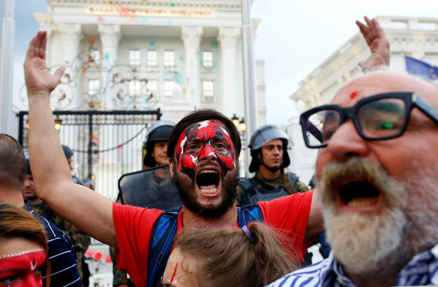 A protester shouts anti government slogans during a protest against the government, in front a government building in Skopje, Macedonia, June 6, 2016. (Photo by Ognen Teofilovski/Reuters)