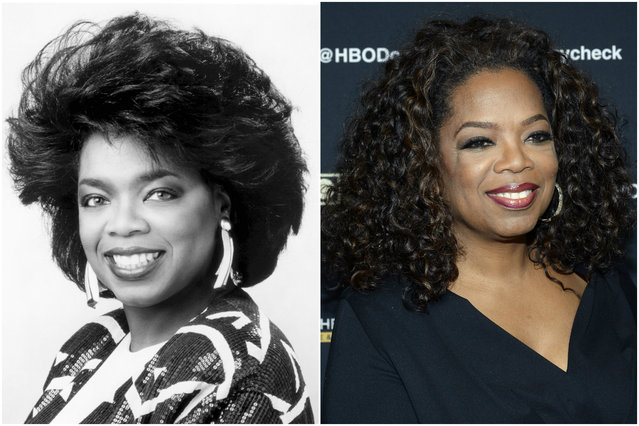 Oprah in 1989 and today. (Photo by Everett Collection/Getty Images)