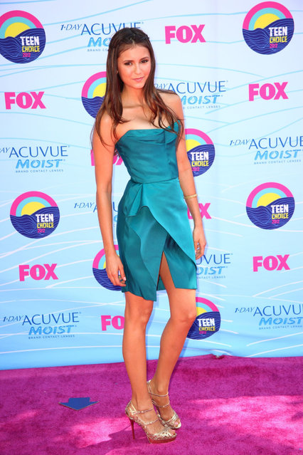 Nina Dobrev poses in the press room at the 2012 Teen Choice Awards at Gibson Amphitheatre on July 22, 2012 in Universal City, California. (Photo by Steve Granitz)