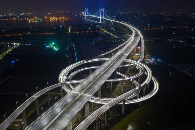 Aerial view of the second Humen Bridge on March 31, 2019 in Guangzhou, Guangdong Province of China. The second Humen Bridge aimed to improve the traffic flow of the Pearl River Delta will open to traffic on April 2 in Guangzhou. (Photo by Lin Yuxian/VCG via Getty Images)