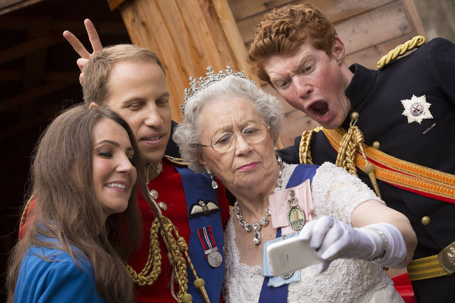 """""""The Duke and Duchess of Cambridge"""", """"The Queen"""" and """"Prince Harry"""" outside the Summerhall arts venue in Edinburgh, Scotland, where their creator Alison Jackson is holding a live performance of her work called La Trashiata. (Photo by James Glossop/The Times/SIPA Press/News Syndication)"""
